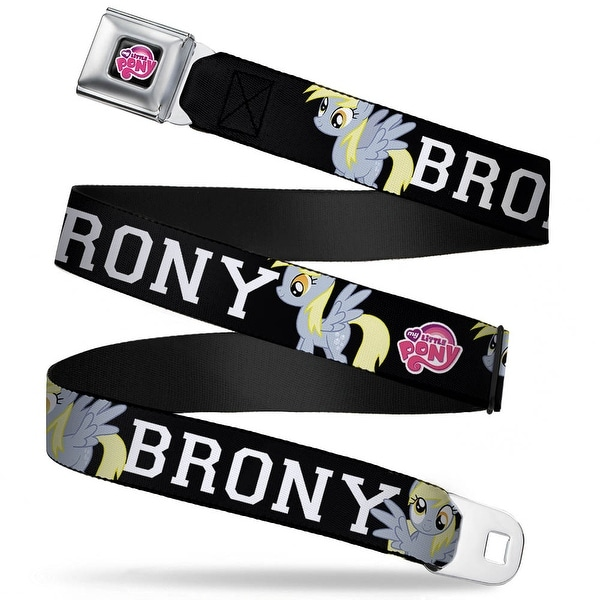 My Little Pony Logo Full Color Black Pink Brony Derpy Muffins Poses Black Seatbelt Belt