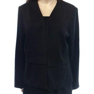 Alfani NEW Black Women's Size 4 Collarless Open Front Textured Blazer