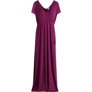 Design History Womens V-Neck Cap Sleeve Maxi Dress