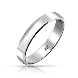 Bling Jewelry .925 Sterling Silver Unisex Wedding Band 4mm