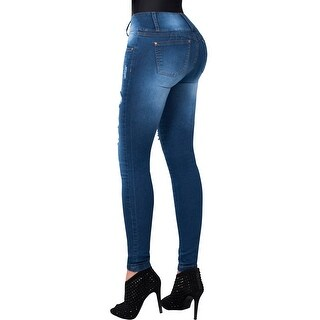Butt Lifter Ripped Distressed Skinny Jeans High Rise Waist Push Up Levanta Cola Colombianos Blue 503RR by Fiorella Shapewear