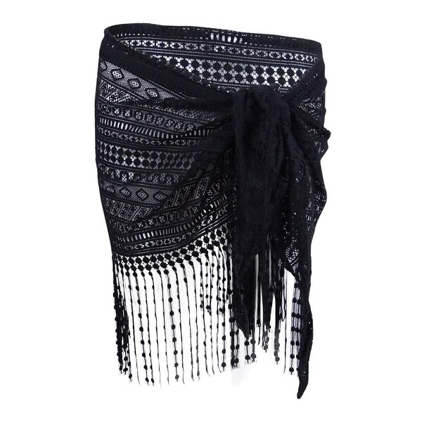 shop dotti women s delight crochet fringe sarong cover up black