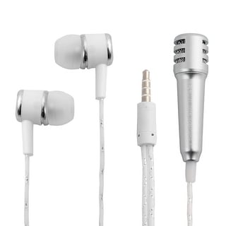 Mini Protable Earbud Microphone Headset Earphone Silver Tone w Mic for Cellphone