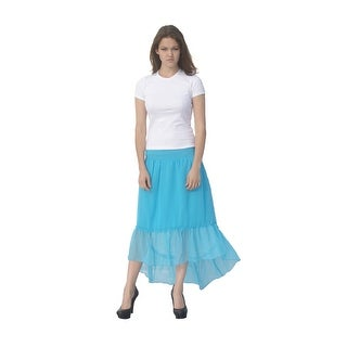 Deep Blue Womens Turquoise Solid Color Ruffle Hi-Low Hem Cover-Up Skirt