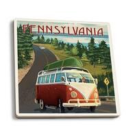 Pennsylvania - VW Van & Lake - LP Artwork (Set of 4 Ceramic Coasters)