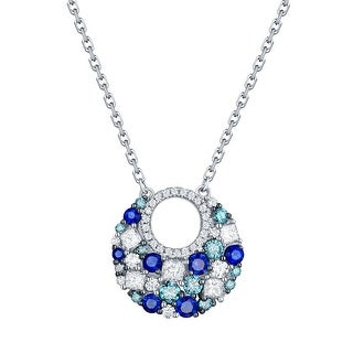 Prism Jewel 0.68CT Blue Sapphire with Blue & White Diamond Big Round Necklace