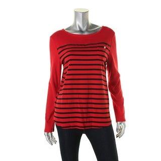 Jones New York Womens Petites Pullover Top Knit Striped - pl