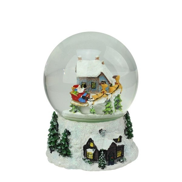 "6.75"" Musical and Animated Santa and Reindeer Rotating Christmas Water Globe - WHITE"