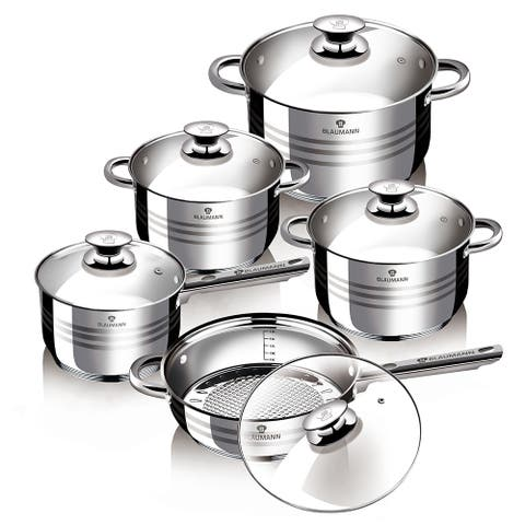 Blaumann 10-Piece Jumbo Stainless Steel Gourmet Cookware Set