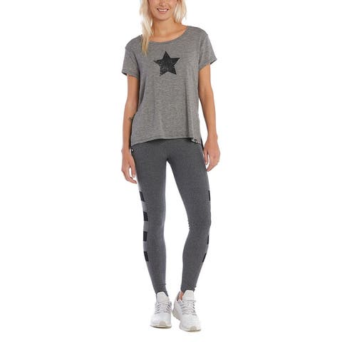 X By Gottex Side Slit Star Tunic Tee - HEATHER GREY