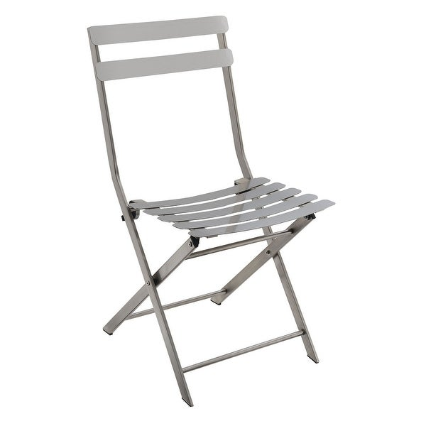 Industrial Styled Metal Folding Chair, Silver, Pack Of Two
