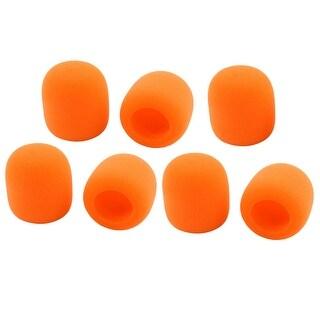 Universal KTV Karaoke Sponge Microphone Windscreen Mic Cover Sleeve Orange 7pcs