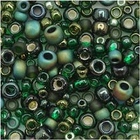 Toho Multi-Shape Glass Beads 'Bonsai' Green/Black Color Mix 8 Gram Tube