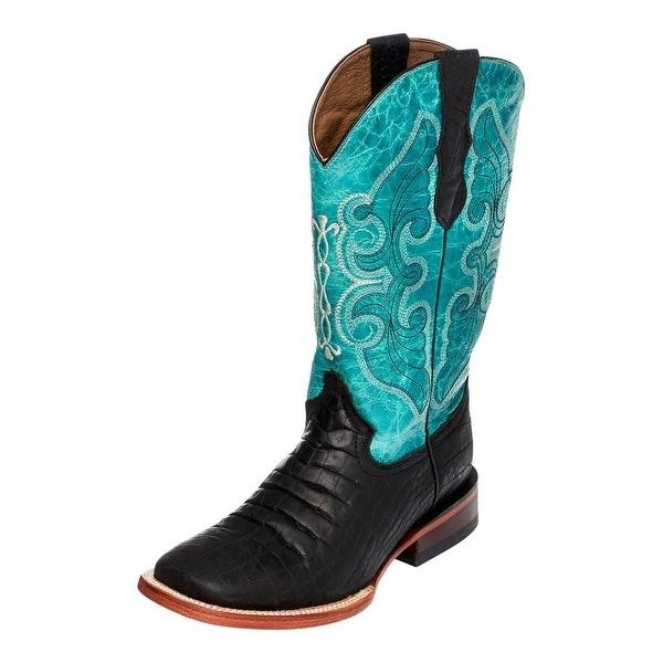 Ferrini Western Boots Women Croc Print Square Black Turquoise