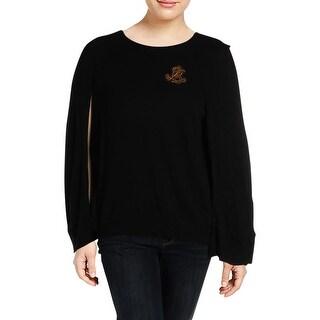 Lauren Ralph Lauren Womens Plus Cape Sweater Embellished Logo - 2x
