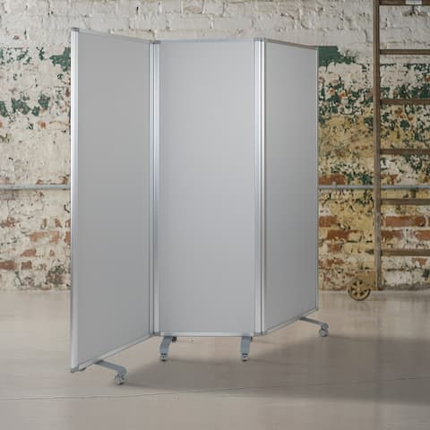 """Mobile Whiteboard/Cloth 3 Section Partition with Locking Casters, 72""""H x 24""""W - 23.75"""" - 71""""W x 0.875"""" - 13.875""""D x 72.125""""H"""