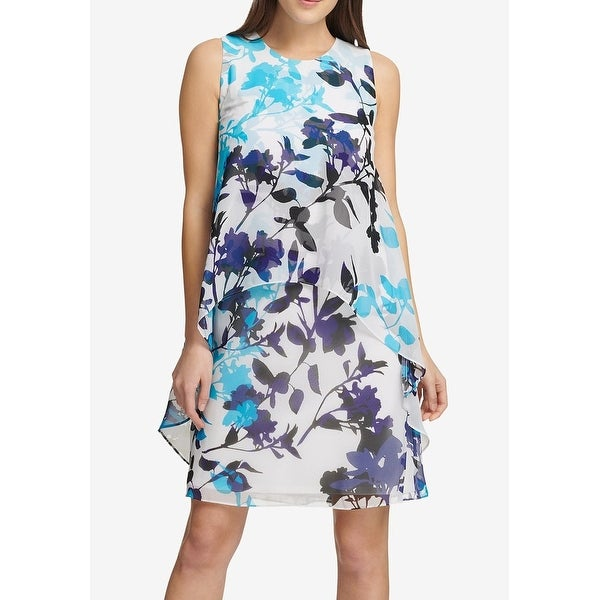 8dcdf9f8c0 Shop DKNY White Blue Womens Size 8 Floral Print Trapeze Shift Dress - On  Sale - Free Shipping On Orders Over  45 - Overstock - 27369462