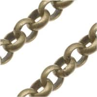 Antiqued Brass Round Rolo Chain - 5.7mm Diameter - Sold By The Foot