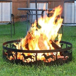 Sunnydaze Heavy-Duty Metal Running Horse Fire Pit Campfire Ring - 36-Inch
