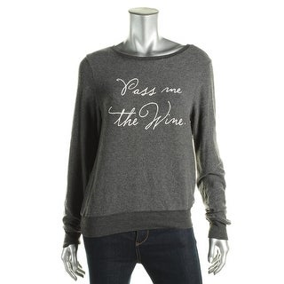 Wildfox Couture Womens Pullover Sweater Graphic Contrast Trim