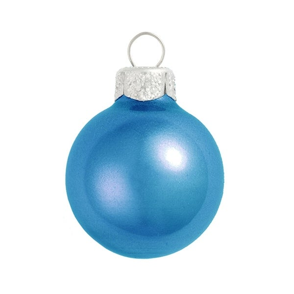 "8ct Metallic Cobalt Blue Glass Ball Christmas Ornaments 3.25"" (80mm)"