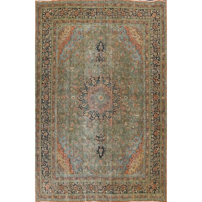 """Antique Floral Mashad Persian Living Room Area Rug Wool Hand-knotted - 9'9"""" x 12'8"""""""