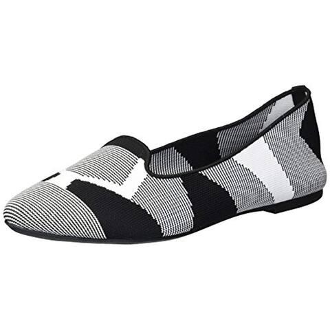 Skechers Women's Cleo-Sherlock-Engineered Knit Loafer Skimmer Ballet Flat, Black/White, 9 M US