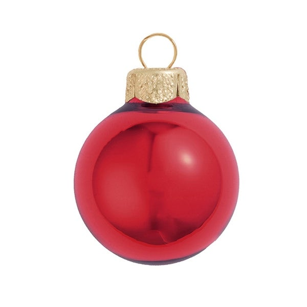 "28ct Shiny Red Xmas Glass Ball Christmas Ornaments 2"" (50mm)"