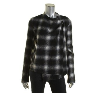 BB Dakota Womens Raw Edge Plaid Jacket Wool Blend Plaid Blazer