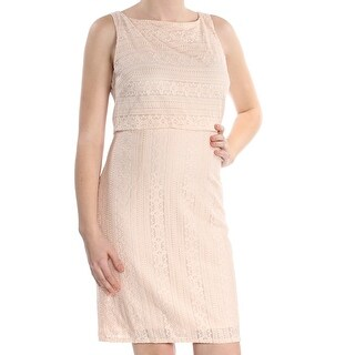 Link to AMERICAN LIVING Womens Pink Floral Lace Sleeveless Boat Neck Above The Knee Sheath Cocktail Dress  Size: 10 Similar Items in Dresses