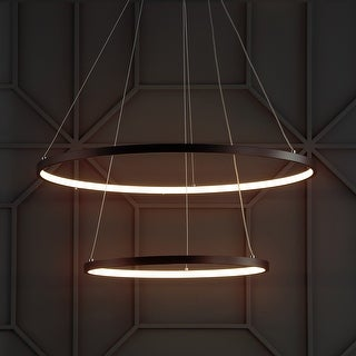 "Brice 24"" Round Integrated LED Metal Chandelier, Matte Black by JONATHAN  Y"