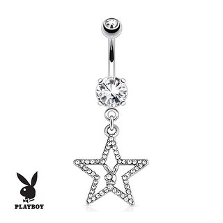 Playboy Bunny with Paved Gemmed Star Dangle 316L Surgical Steel Navel Belly Button Ring