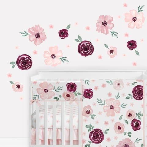 Burgundy Pink Watercolor Floral Wall Decal Stickers Nursery Decor (Set of 4) - Blush Maroon Rose Shabby Chic Flower Farmhouse
