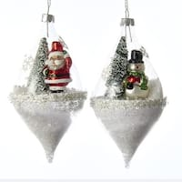 Pack of 6 Scenic Winter Santa Claus & Snowman Snow Filled Glass Teardrop Globe Christmas Ornaments - WHITE