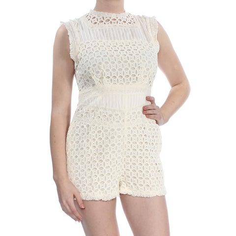 FREE PEOPLE Womens Ivory Lace Trim Sleeveless Romper Size: 8