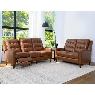 Abbyson Holloway Mid Century Pushback Leather Reclining Sofa & Loveseat