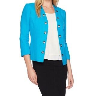 Kasper Blue Grotto Women's Size 6 Grommet Trim Open Front Jacket