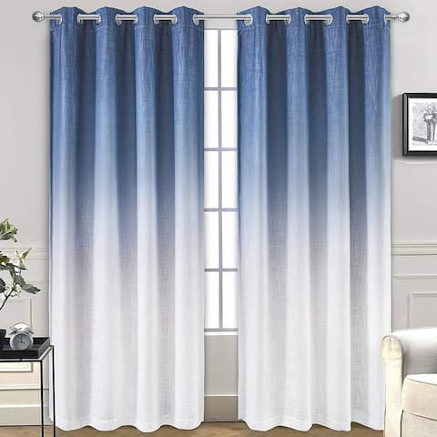"""DriftAway Ombre Gradient Color Lined Blackout Thermal Insulated Window Curtain - 50""""Width X 84 """"Length"""