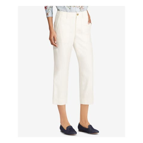 RALPH LAUREN Womens Ivory Cropped Pants Size 4