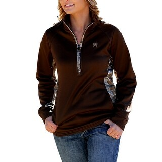 Cinch Western Sweatshirt Womens Camo Outdoor Zip Brown MUK3003001