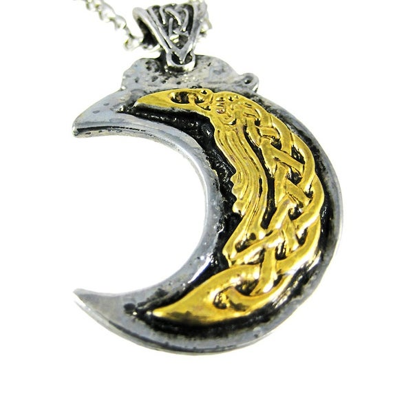 Shop Two Tone Nordic Moon Pendant Necklace Norse Ships To Canada