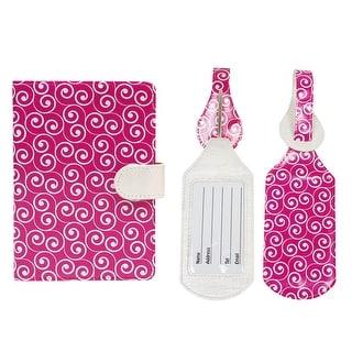 JAVOedge Travel Set: Pink Swirl RFID Blocking Passport Case with Snap Closure, Pen Holder + 2 Matching Luggage Tags