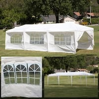BELLEZE Large Party Outdoor Wedding Pop Up Canopy 10' x 30' Foot Gazebo White UV Resistant Pop Up Te