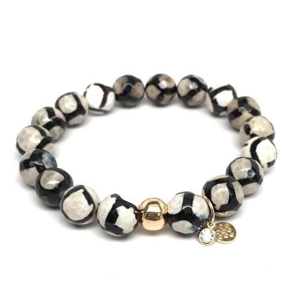 """Black & White Agate Emma 7"""" Bracelet"""