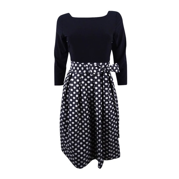 97f40ee14321b Shop Jessica Howard Women's Petite Polka-Dot Fit & Flare Dress -  Black/silver - Free Shipping On Orders Over $45 - Overstock - 20564644