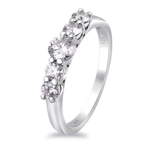Moissanite Sterling Silver Round 5-Stone Ring by Sparklezz