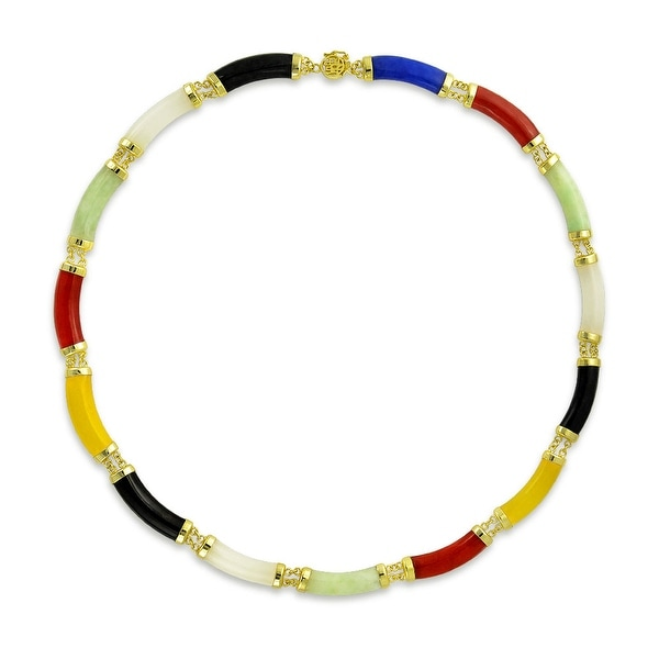 8fc6228a1 Bling Jewelry Assorted Jade Gold Plated .925 Sterling Silver Link Statement  Necklace