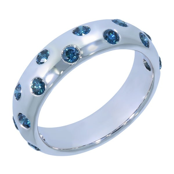 Prism Jewel 0.50Ct Flush Set Blue Color Diamond Wedding Band, 5.45mm Wide