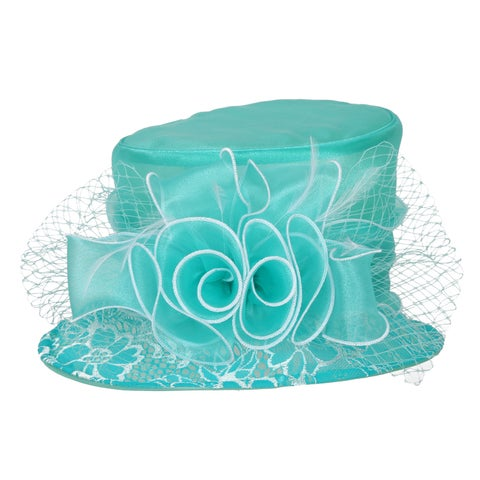 ChicHeadwear Small Brim Two-Tone Organza Hat w/ Floral Center - One size