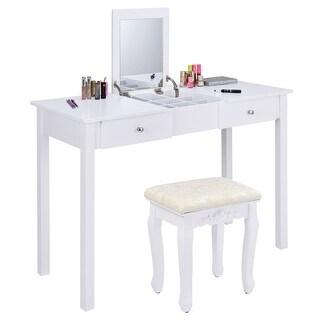 vanity table. Costway Vanity Table Dressing Flip Top Desk Mirror 2 Drawers Furniture With Stool T